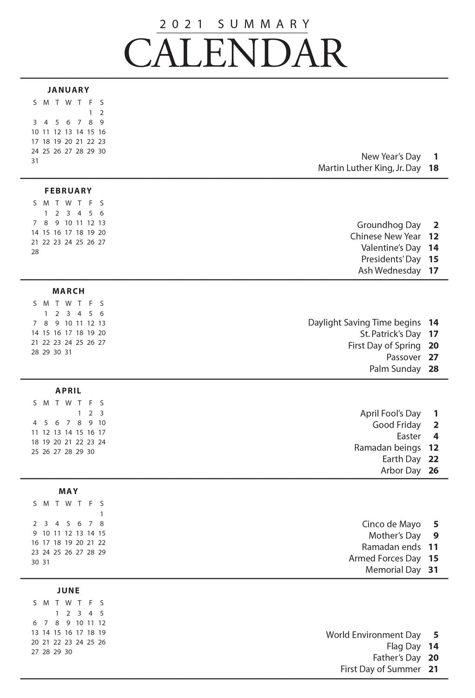 2021 Colorado Spiral Calendar